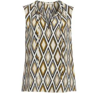 Tory Burch Jess Diamond Print Sleeveless Silk Top